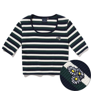WOMANS STRIPE RIBBED TEE_GREEN