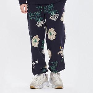 FLOWER PATTERN SWEAT PANTS_NAVY