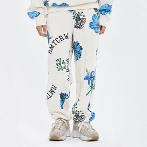 FLOWER PATTERN SWEAT PANTS_OATMEAL