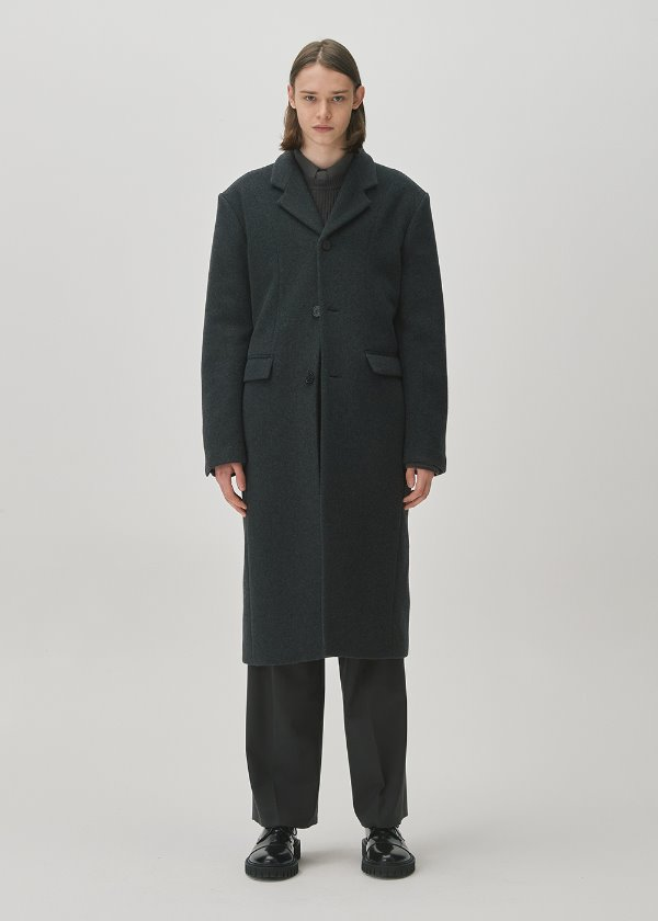 THREE BUTTON TAILORED WOOL COAT MELANGE CHARCOAL
