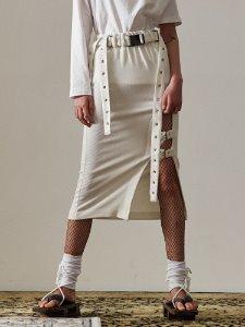 Buckle slit skirt - WH