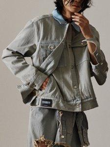 2layer front denim jacket - GRDE