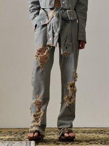 Tie damage denim pants - GR DE