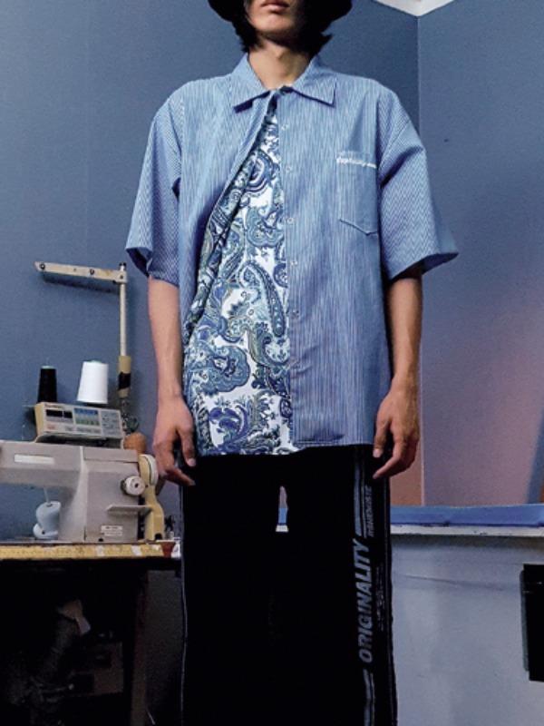 [50% SALE]duplexity stripe shirt - BL