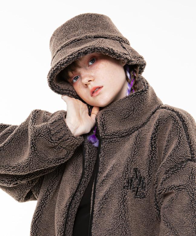 RNHI BOA FLEECE BUCKET HAT [LIGHT BROWN]