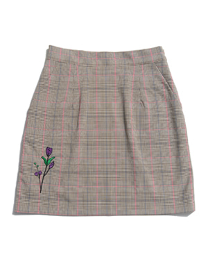 FLOWER EMBROIDERY CHECK SKIRT [BEIGE]