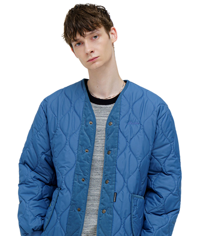 CORDUROY MIXED QUILTING PARKA [BLUE]