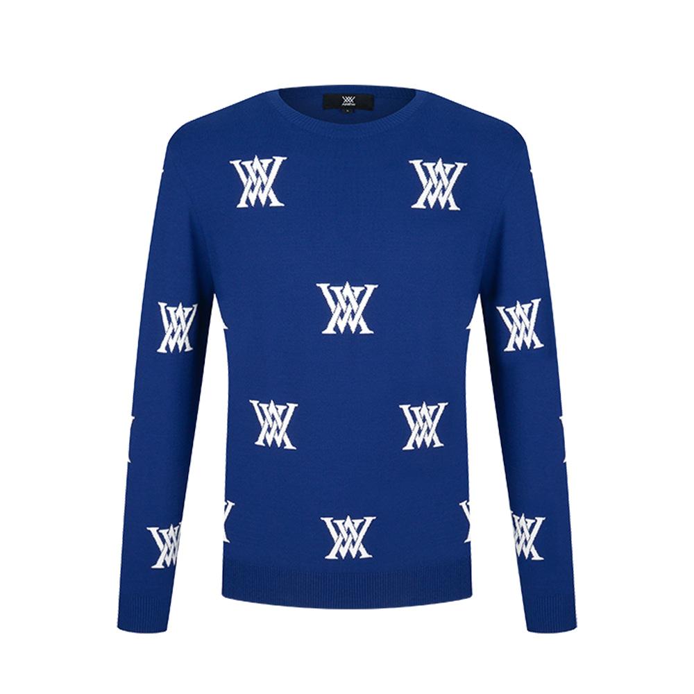 M ANEW Logo Intarsia Sweater_BL