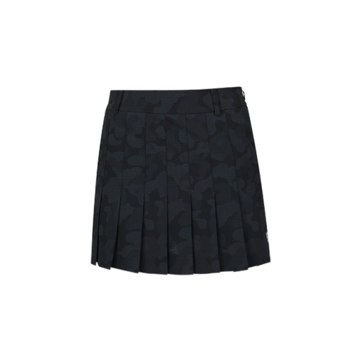 W Camo Pleats Skirt_BK