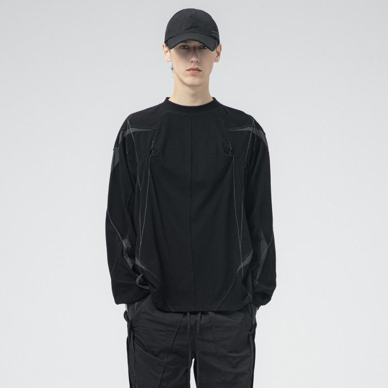 [ATTÈMPT : 어템트] Reversible Splicing Panels 3D Pattern Fabric Detail LS-Tshirt Black