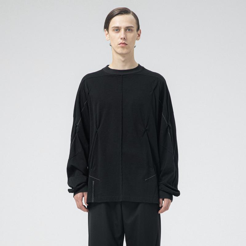 [ATTÈMPT : 어템트] 3D Dart Pattern Stitch Detail LS-Tshirt Black