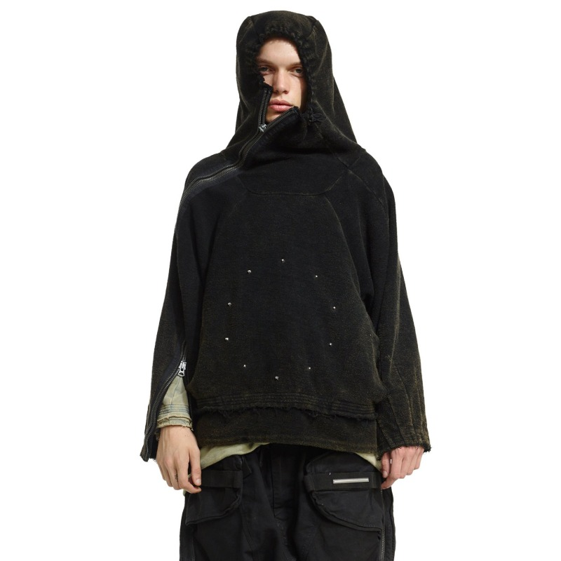 [HAMCUS : 햄커스] Monks of The Void Storm Double Full Zip Detail Pyra High-neck Hoodie Cloudy Black