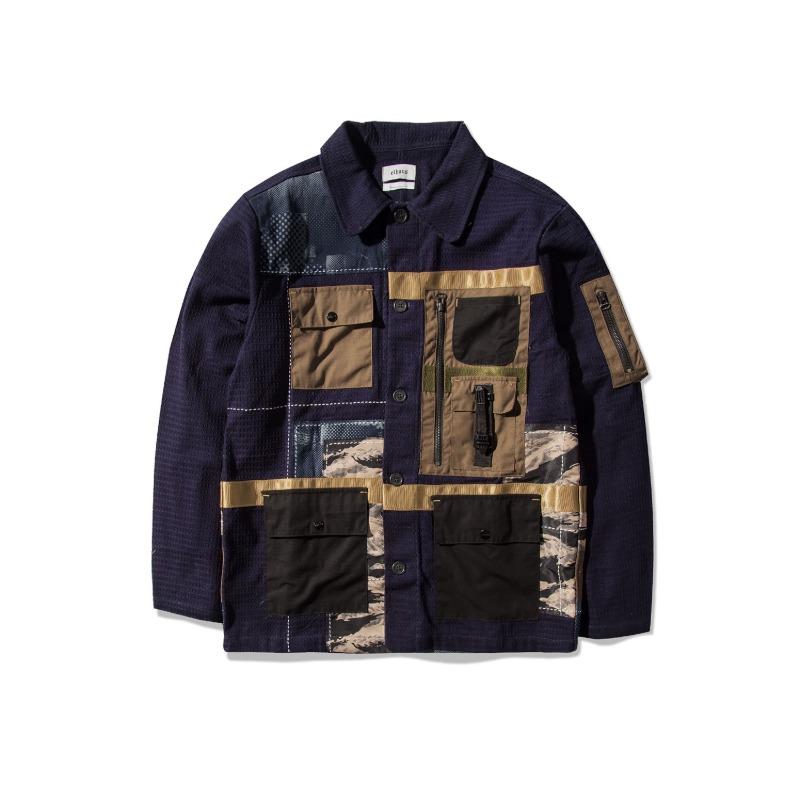 [elhaus : 엘하우스] Sashiko Wooven Fabric Collage Nomad Coverall Jacket Navy