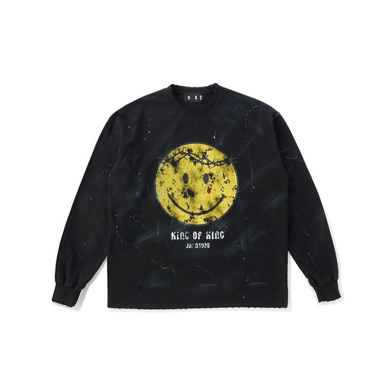 [SOMEIT : 써밋] K.O.K Aged and Splatter Printing LST-Shirt Black