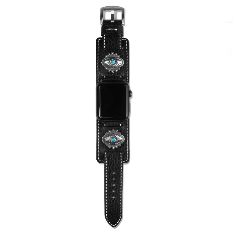 [NICHED : 니시드] 'Pioneer' Turquoise & 925 Silver Concho White Stitched 2way Double Dollaro Leather Strap for Apple Watch