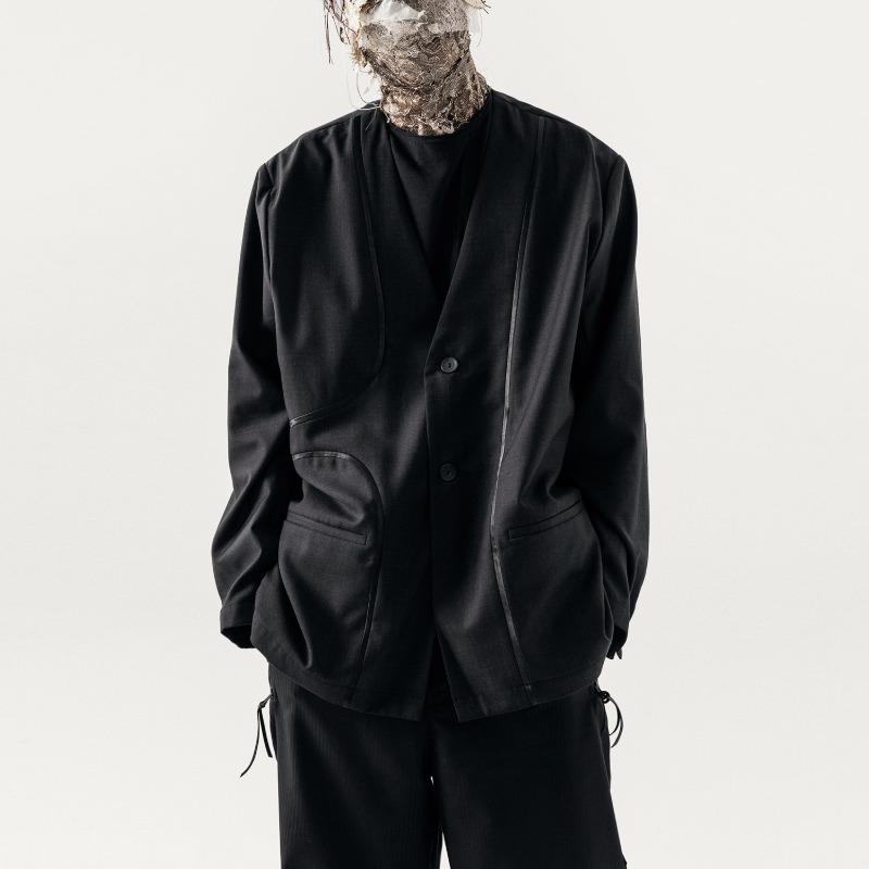 [Professor-E : 프로페서-이] Reversible Velvet Bias Details Structural Panels E-Complex Collarless Suit