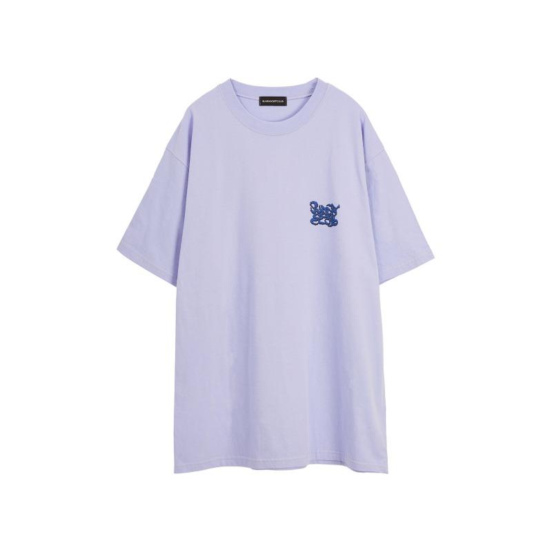 [SUNDAY OFF CLUB : 선데이오프클럽] Smoke Graffiti Logo T-shirt Misty Lilac