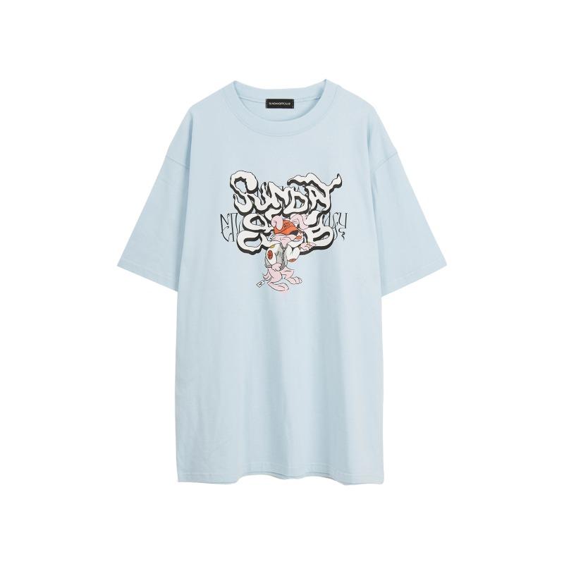 [SUNDAY OFF CLUB : 선데이오프클럽] Smoke Graffiti Baddy Rabbit Artwork T-shirt Canal Blue