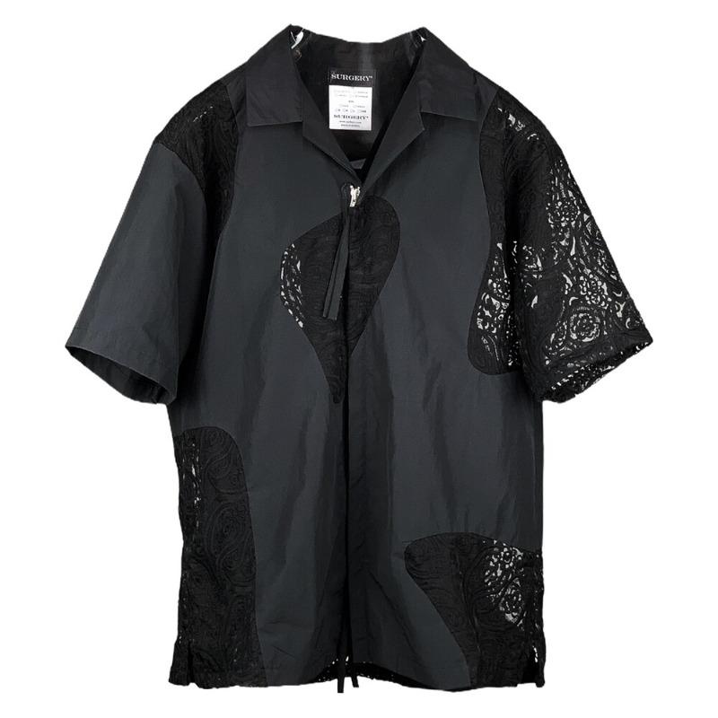 [SURGERY : 써저리] Surgery Marbling Zip Detail Short Sleeves Shirts Black