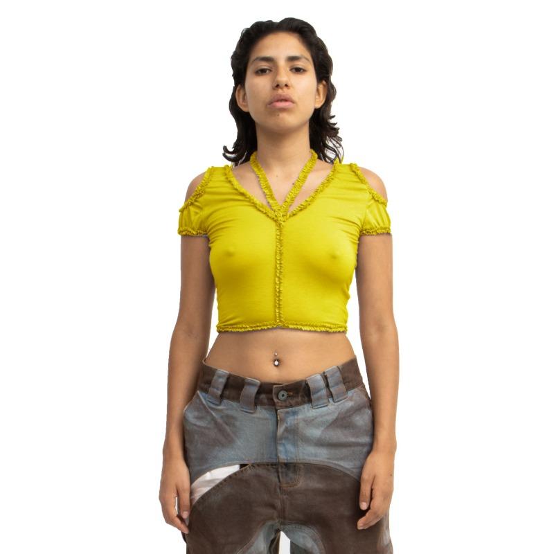 [BARRAGAN : 바라간] XOCHI Ruffle Open Shoulder Top Yellow