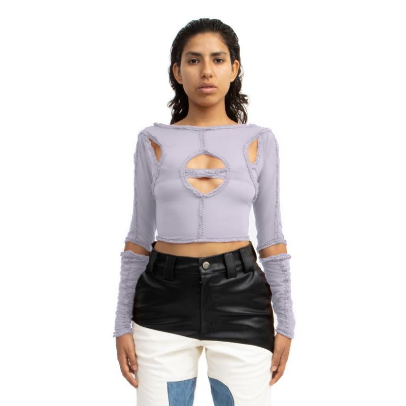 [BARRAGAN : 바라간] XOCHI Ruffle Center Hole Long Sleeves Top Lilac