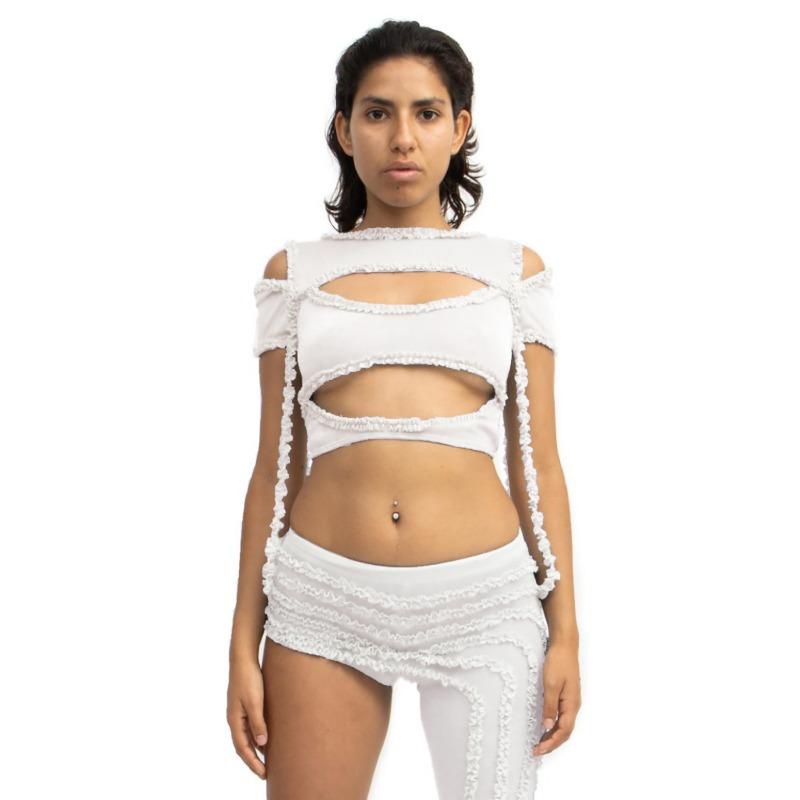 [BARRAGAN : 바라간] XOCHI Ruffle Cutout T-shirt White