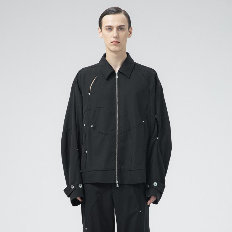 [ATTÈMPT : 어템트] Sphereline Panels Pattern Cut-off Details Zip-up Jacket
