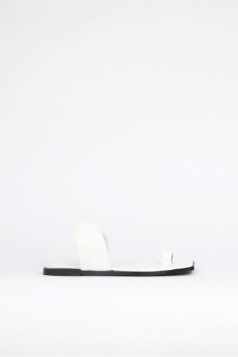 Lou Leather Slides Whiteblanc sur blanc blanc sur blanc 블랑수블랑 디자이너 슈즈