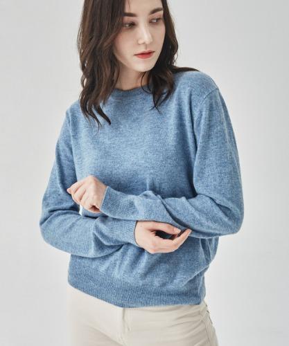 Women's Cashmere-Blend Knit Top [Blue]