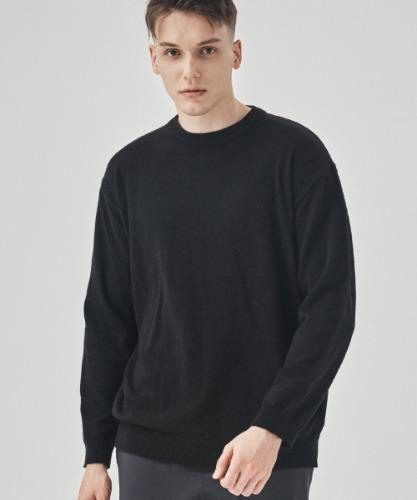 Cashmere Blend Men's Round Neck Knit Top [Black]