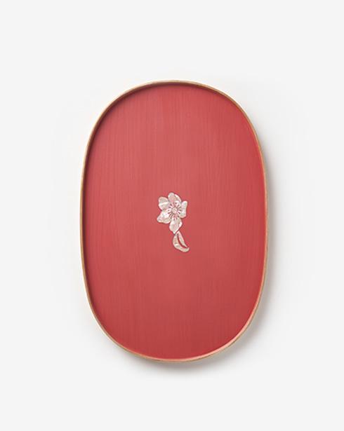 [나은크라프트] 차꽃문 타원형 옻칠트레이 (분홍색)