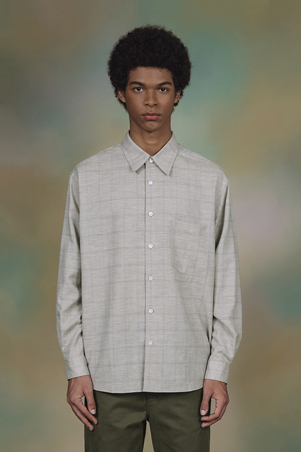 WOOL CHECK WIDE SHIRT (CHECK BEIGE)