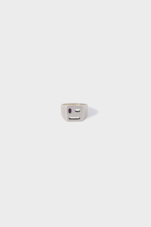 GEMSTONE ANGLE FACE RING (SILVER) [YJY X SHIRTER]