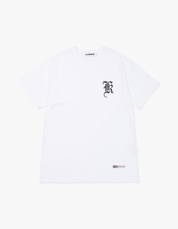 LORES Old English Logo T-Shirt - White   HEIGHTS.   하이츠 온라인 스토어