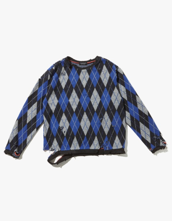 JOEGUSH Distressed Argyle Knit - Blue/Black | HEIGHTS. | International Store