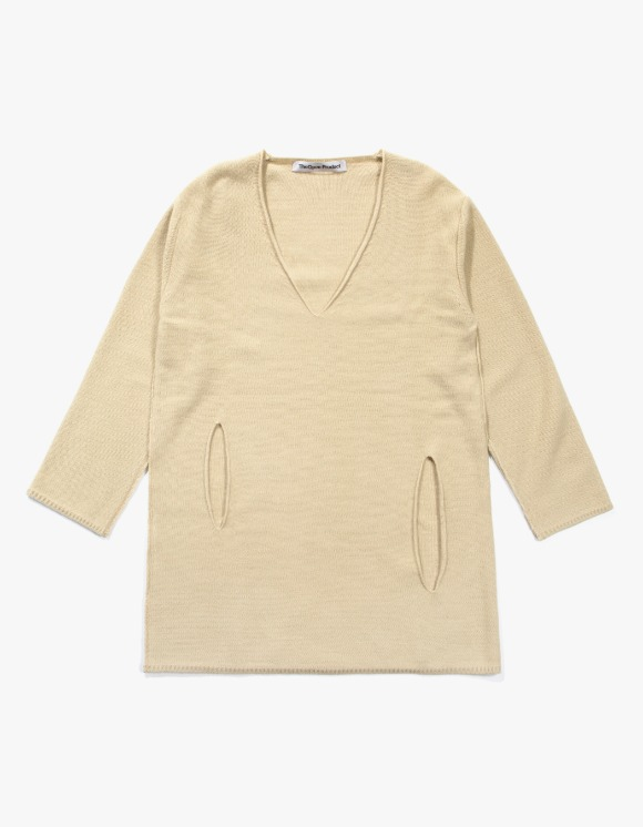 TheOpen Product Side Cut Out V Neck Knit Top - Beige   HEIGHTS.   하이츠 온라인 스토어