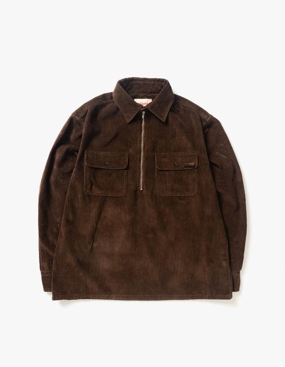 Victoria Hong Kong 1/4 Zip Corduroy Pullover Shirt - Chocolate   HEIGHTS.   International Store