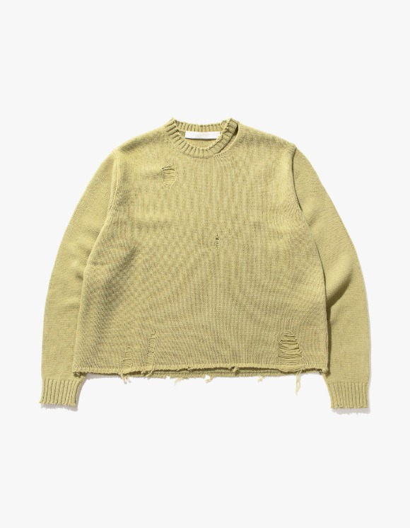 TheOpen Product Distressed Hem Wool Knit Top - Olive | HEIGHTS. | International Store