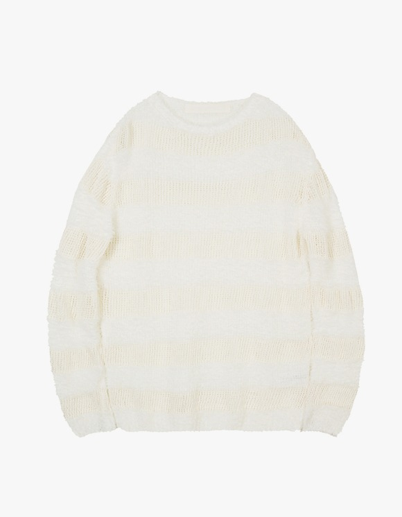 TheOpen Product Fluffy Stripe Knit Top - White | HEIGHTS. | International Store