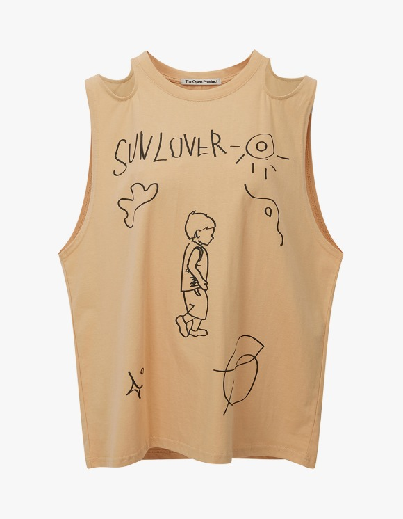 TheOpen Product Shoulder Cut-Out Drawing Top - Beige | HEIGHTS. | International Store