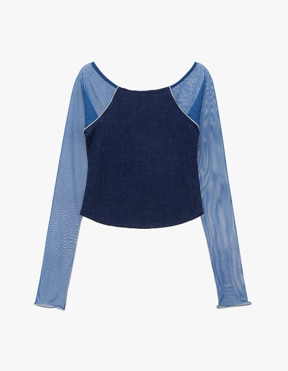 TheOpen Product Mesh Sleeve Boat Neck Top - Blue | HEIGHTS. | International Store
