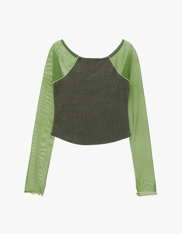 TheOpen Product Mesh Sleeve Boat Neck Top - Green | HEIGHTS. | International Store
