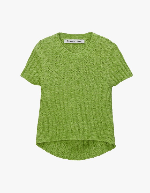 TheOpen Product Back Slit Half Sleeve Knit Top - Green | HEIGHTS. | International Store