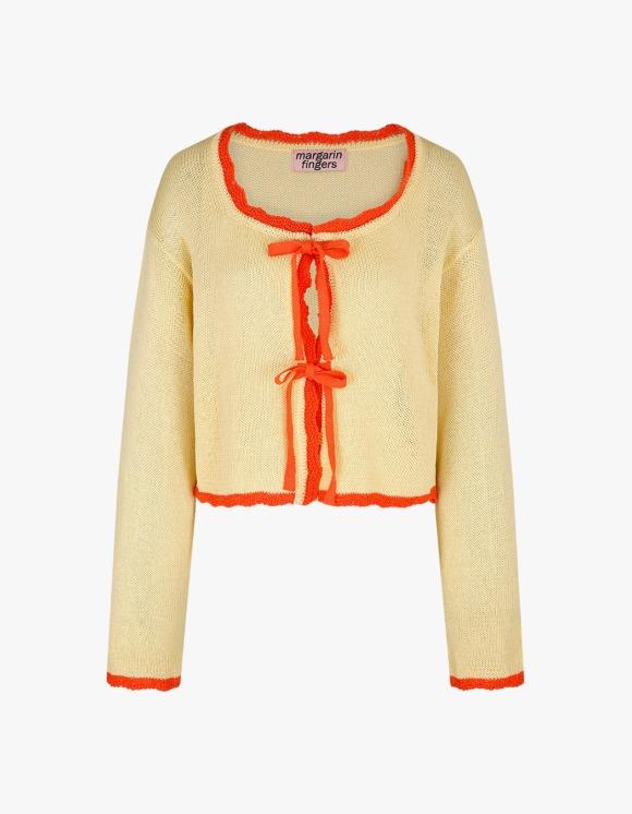 Margarin Fingers Scallop Ribbon Cardigan - Yellow | HEIGHTS. | International Store