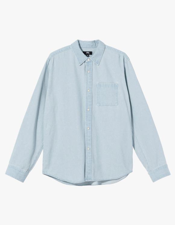 Stussy Flower Emb. Denime L/S Shirt - Light Blue | HEIGHTS. | 하이츠 온라인 스토어
