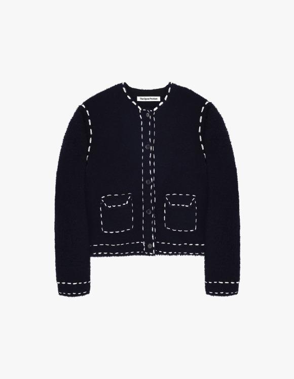TheOpen Product Fluffy Wool Stitch Cardigan - Black Navy | HEIGHTS. | 하이츠 온라인 스토어