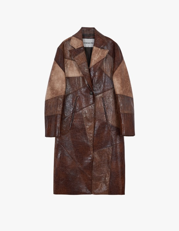 Andersson Bell Cara Faux Leather Patch Coat - Brown | HEIGHTS. | 하이츠 온라인 스토어