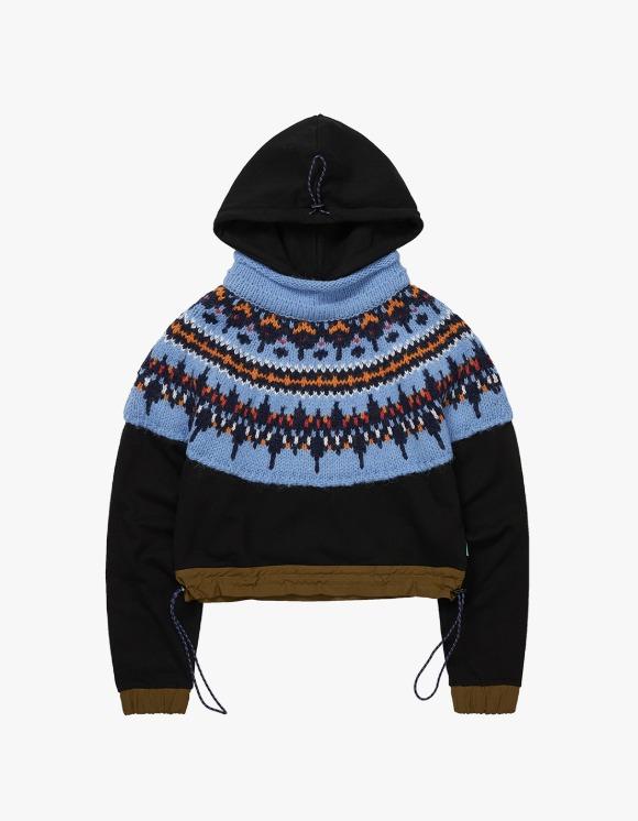 Andersson Bell Nordic Knit Combo Crop Hoodie - Blue/Black | HEIGHTS. | 하이츠 온라인 스토어
