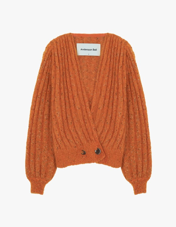 Andersson Bell Connelly Deep V-Neck Cardigan - Orange | HEIGHTS. | 하이츠 온라인 스토어