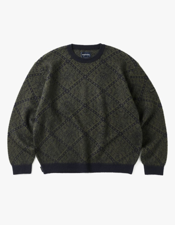 thisisneverthat Moroccan Jacquard Sweater - Navy/Dark Olive | HEIGHTS. | International Store